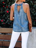 Lace Up Halter Sexy Denim Top Vest