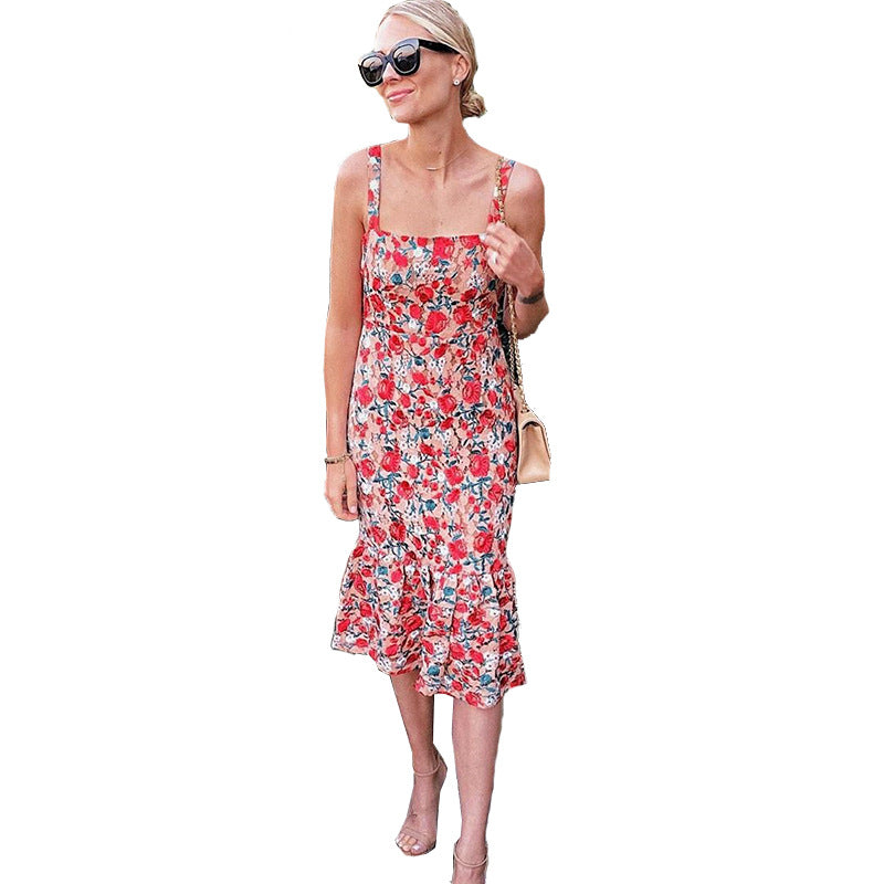 Floral Sling Big swing Sexy Midi Dress
