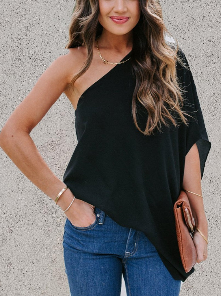 One Shoulder Solid Color Loose Blouse