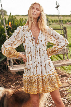 Boho Vintage Printed Beach Deep V Neck Mini Dress