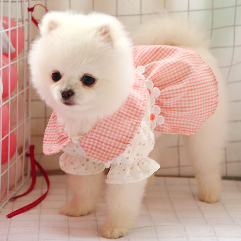 Dogs Cats Hollowed Out Pink Plaid Skirt
