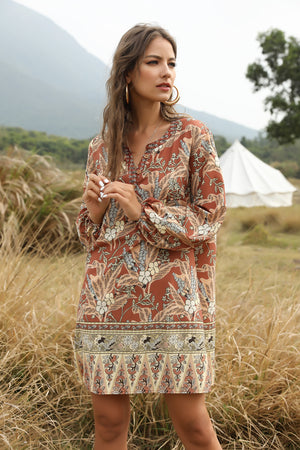 Bohemian V-neck casual dress print dress