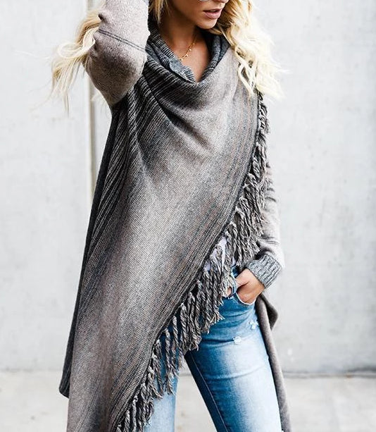Asymmetric Tassels Cape Tops Sweater