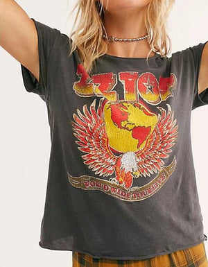 Round neck eagle earth print short sleeve T-shirt