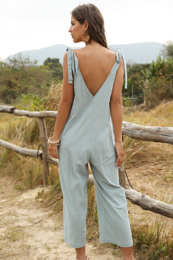 Blue-Green Bow Suspenders Sleeveless Jumpsuits