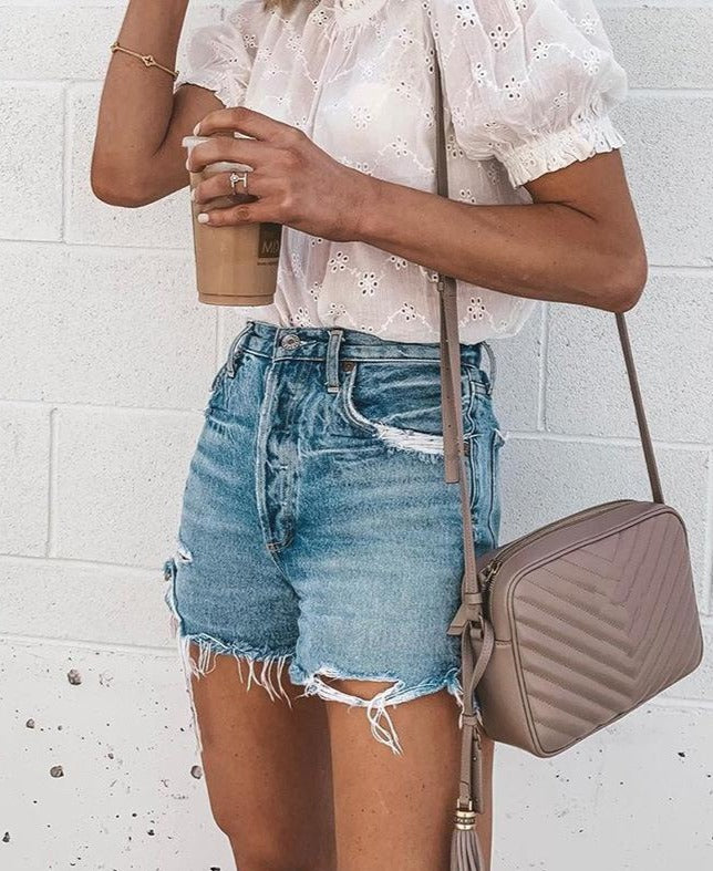Baggy button hole fringe Jeans Shorts
