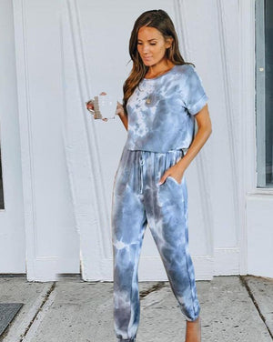 Tie dye drawstring casual pants short sleeve T-shirt women's suit