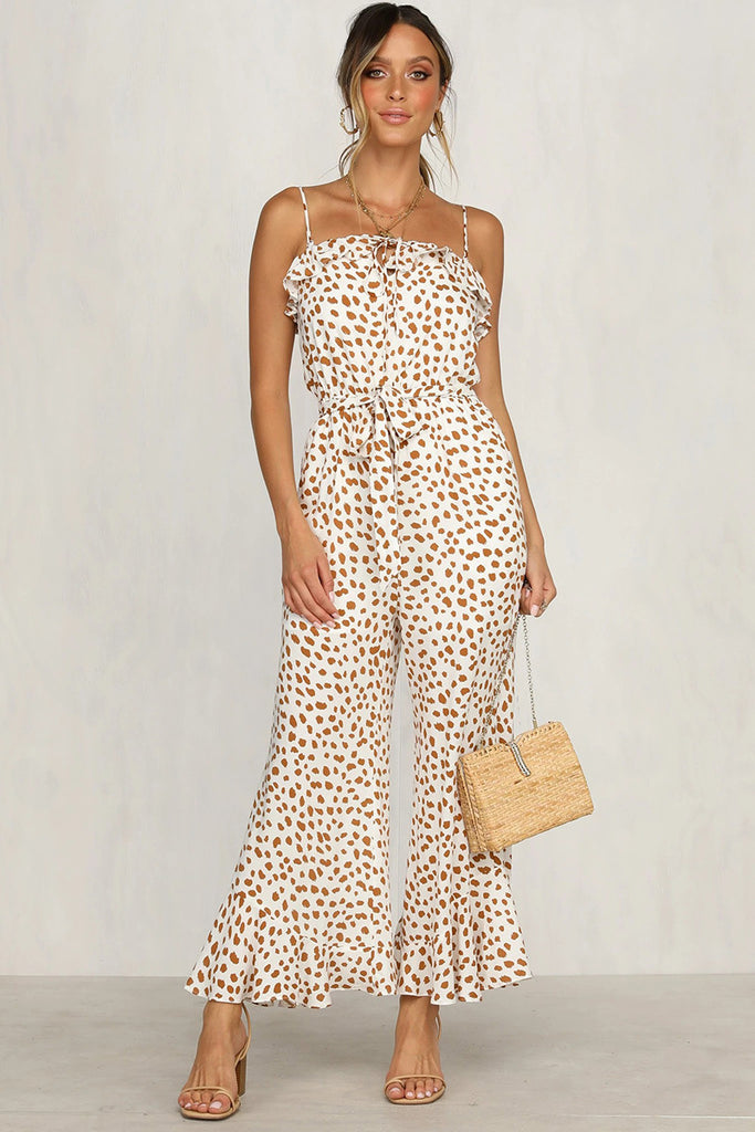 Retro Holiday Style Leisure Printed Harness Jumpsuit
