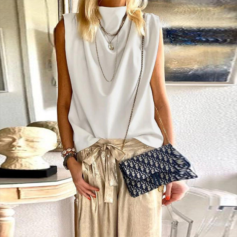 Solid stand collar bottom top sleeveless T-shirt