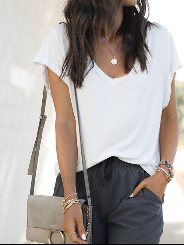 White Casual solid loose V-neck short sleeve T-shirt
