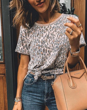 Summer's new leopard base top short sleeve T-shirt