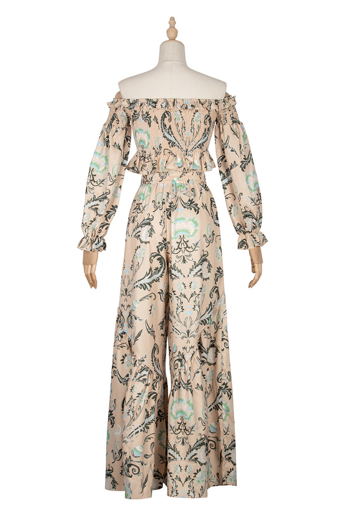 Word neck elastic chest binding panel printing Ruffle sleeve pants suit