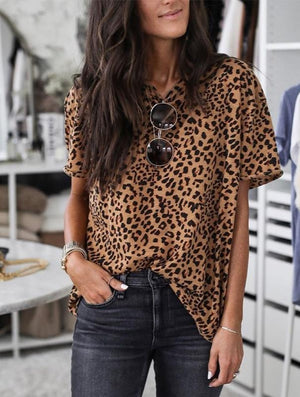 Leopard bottoming top short sleeve T-shirt