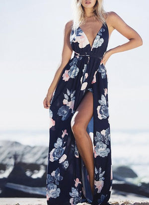Sexy V-neck Backless Floral Print Lace-up Dresses
