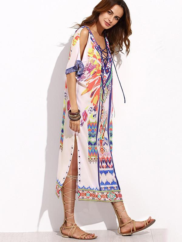 Women  Bohemian Backless Casual Big Sizes Party Sexy Print Dress