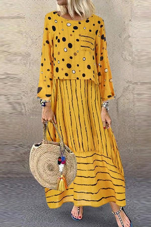 Polka Dot & Stripe Long Sleeves Loose Maxi Dress