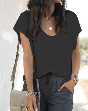 Black Casual solid loose V-neck short sleeve T-shirt