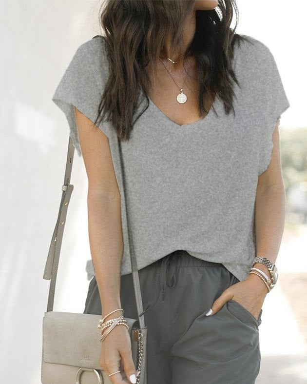 Grey Casual solid loose V-neck short sleeve T-shirt