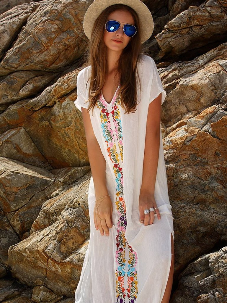 Women Bohemian Floral Print Summer Beach Long Dress