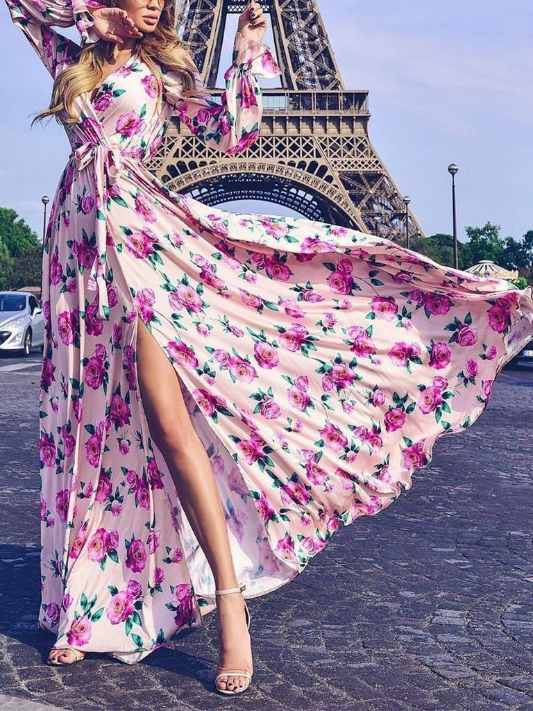 Sexy Long Sleeves Floral Print Maxi Dress