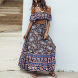 Boho Harmonia Floral Printed Maxi Suit Sets -Navy
