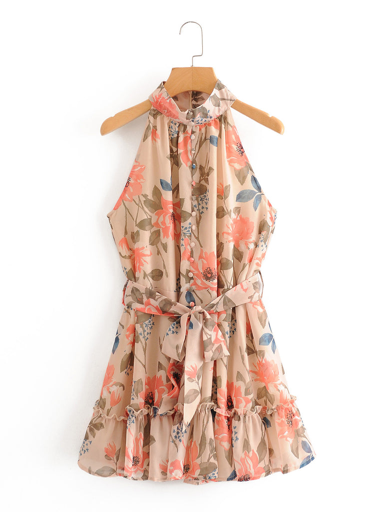 Printed sleeveless hem Ruffle lace up dress