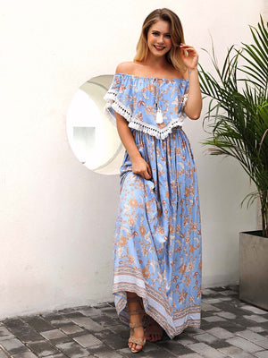 Off Shoulder Tassel Trim Flounce Maxi Dress