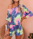 Tie Dye Drawstring Casual Pants Long Sleeve T-Shirt Women's Suit