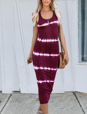 Striped Tie Dyed Halter Midi Dress