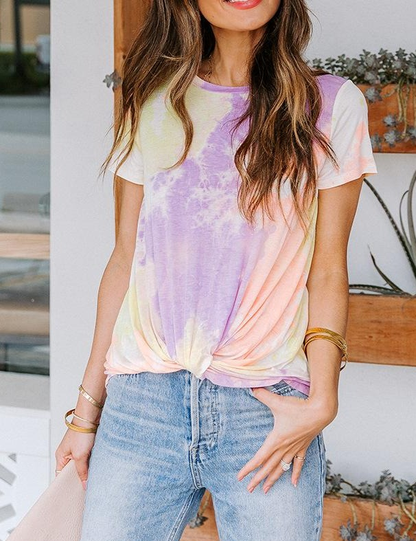 Tie Dye Base Casual Round Neck T-Shirt