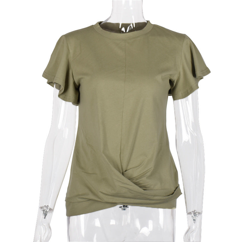 Solid Bottom Ruffle Short Sleeve T-shirt - 6 Colors