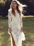 Long Sleeve Chiffon Lace Stitching Backless Dress