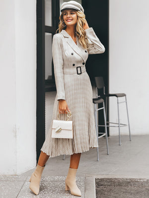 Plaid Double Button Pleated Belted Blazer Midi Dress