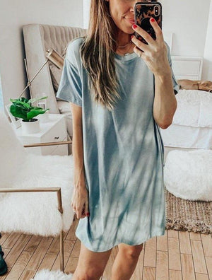Loose Tie Dyed Round Neck Short Sleeve Casual dress
