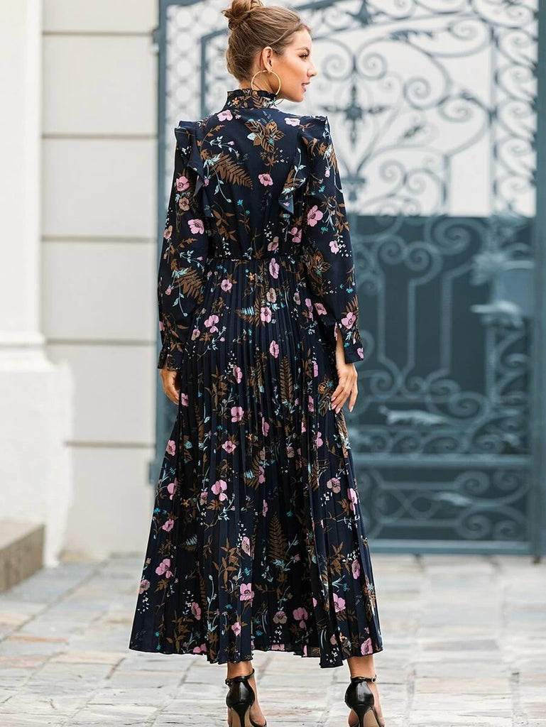 Tie Neck Floral Print Pleated Hem Maxi Dress