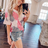 Round neck Tie Dye Bottoming Short Sleeve T-shirt