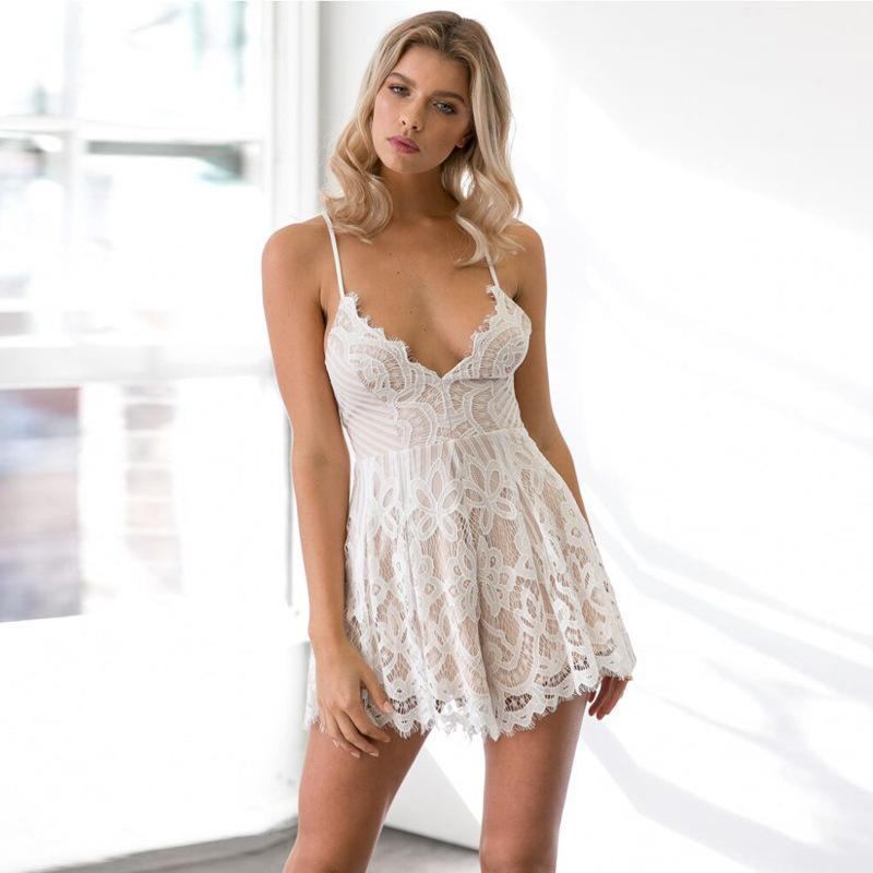 Sling deep V sexy backless lace eyelash jumpsuit