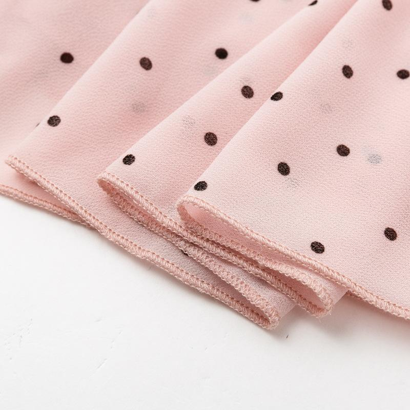 Chiffon long sleeved wave polka dot dress