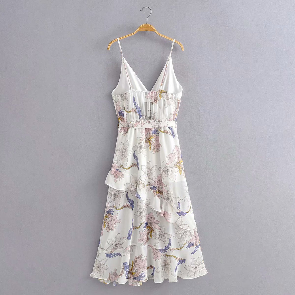 Printed Halter Ruffle Lace Up Mid Dress