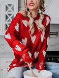 Red Heart Knitted Thin Pullovers Casual  Knitwear