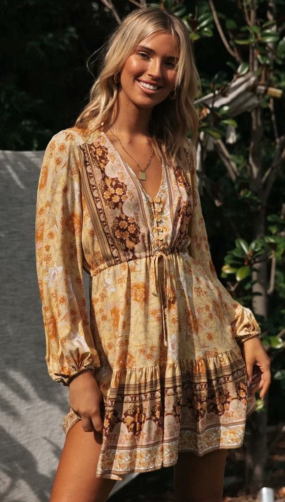 V-neck positioning print long-sleeved dress V-neck lace-up short skirt