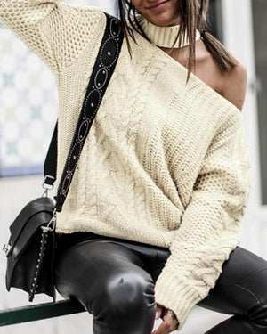 One Shoulder Halter Neck Sweater