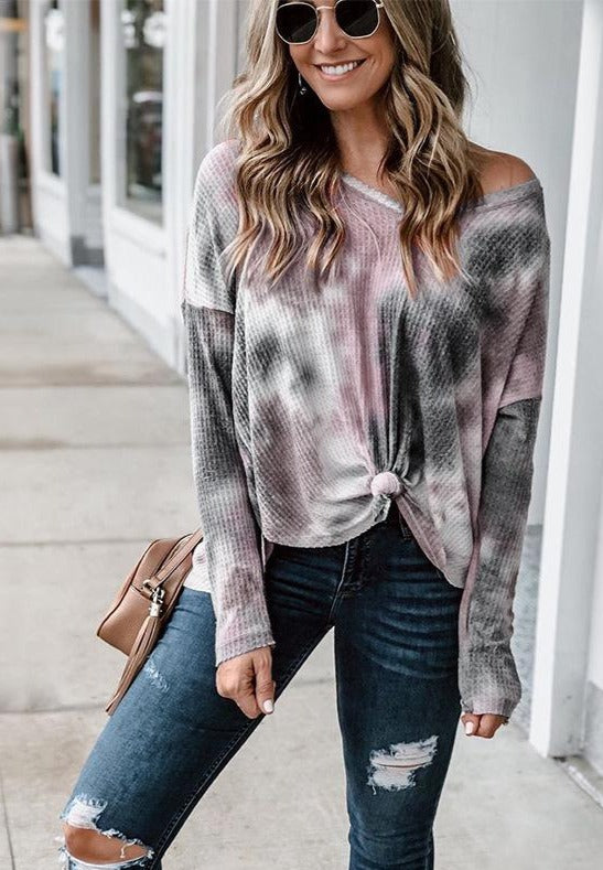 V-neck knotted Grey tie-dye shirt top