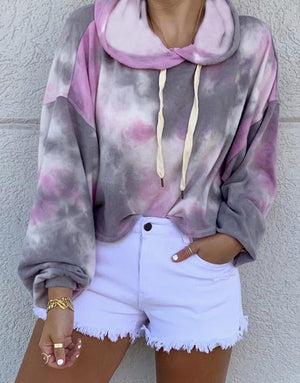 Purple Loose drawstring tie-dye hooded