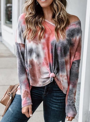 V-neck knotted Red tie-dye shirt top
