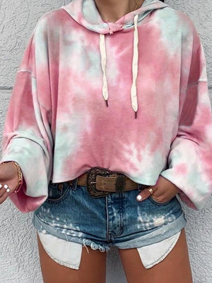 Pink Loose drawstring tie-dye hooded