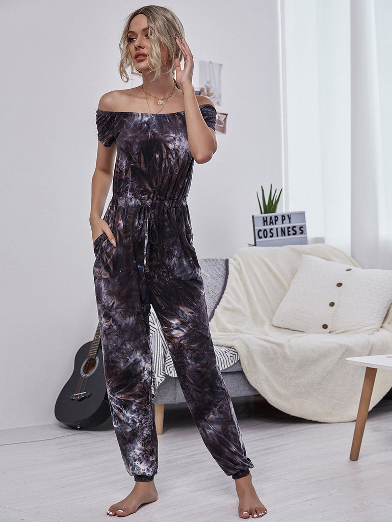Fashion print strapless slim-fit elasticated home jumpsuit