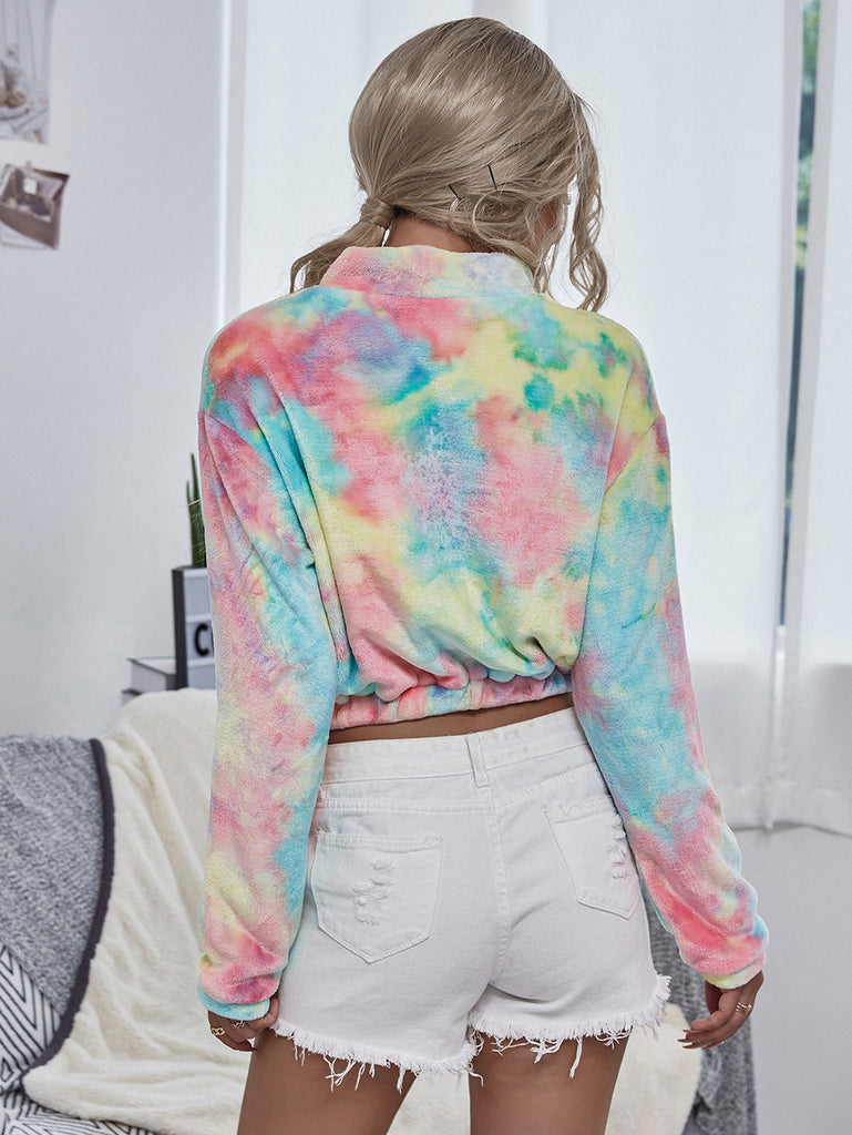 Color tie-dye plush long sleeve casual top