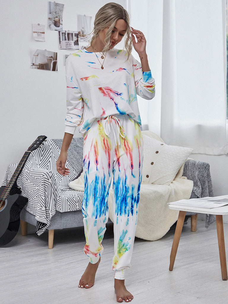Fashion Casual Printing Two-piece Long sleeve trouser suit
