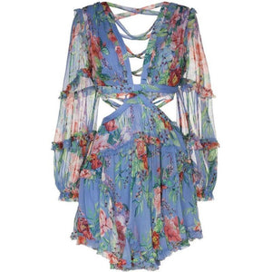 Blue Floral Chiffon Deep V neck backless Boho Dress